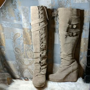 Knee high suede lace up boot wedge heel